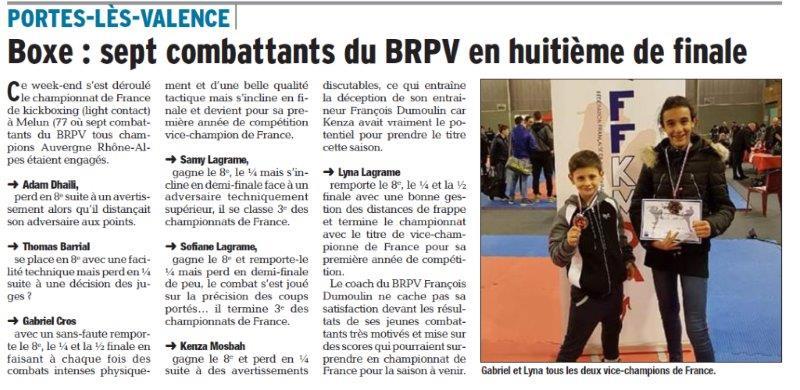 Dauphiné Libéré du 07-03-2018 Boxe Championnat de France-PLV