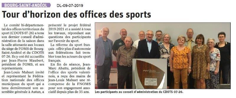 Dauphiné Libéré du 09-07-2019- CA du CDOTS 07-26 à BSA
