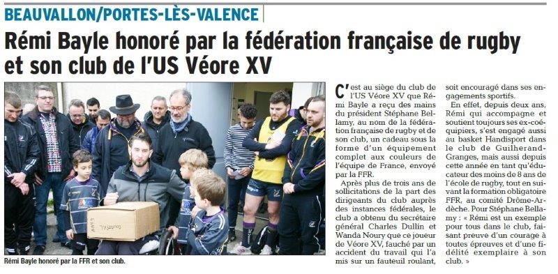 Dauphiné Libéré du 31-03-2018-FFRUGBY honore Rémy Bayle-PLV