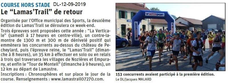 Dauphiné libéré du 12-09-2019- Retour du Lamas'Trail