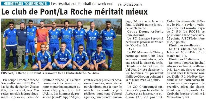 Dauphiné Libéré du 26-03-2019- Hermitage Tournenais foot