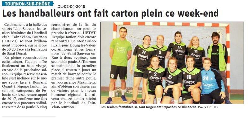 Le Dauphiné Libéré du 02-04-2019- Les handballeurs de Tournon
