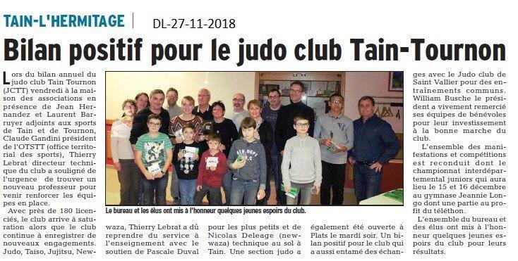 Dauphiné Libéré du 27-11-2018- Tain-l'Hermitage