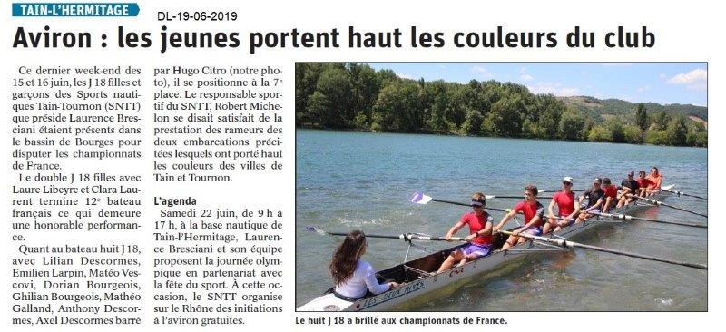 Dauphiné Libéré du 19-06-2019- Aviron de Tain