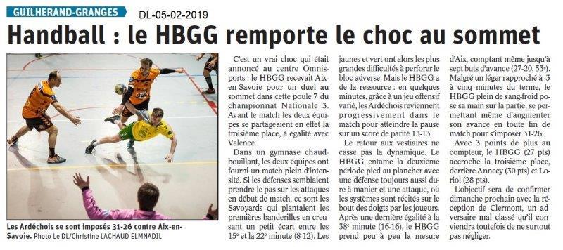 Dauphiné Libéré du 05-02-2019- Handball de Guilherand Granges