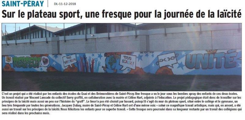 Dauphiné Libéré du 10-12-2018- Saint-Peray une fresque pour la journée de la laïcité