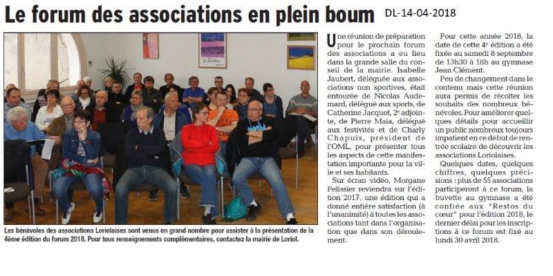 Dauphiné Libéré du 14-04-2018-Préparation du Forum. Loriol