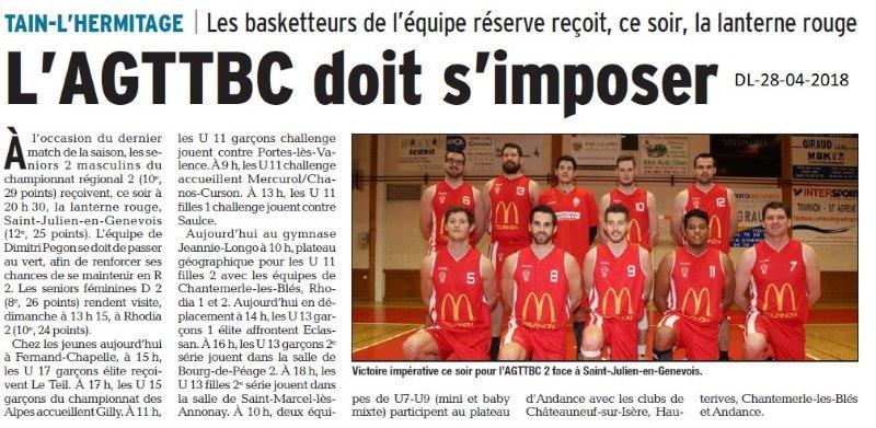 Dauphiné Libéré du 28-04-2018- Les basketeurs à Tain-l'Hermitage
