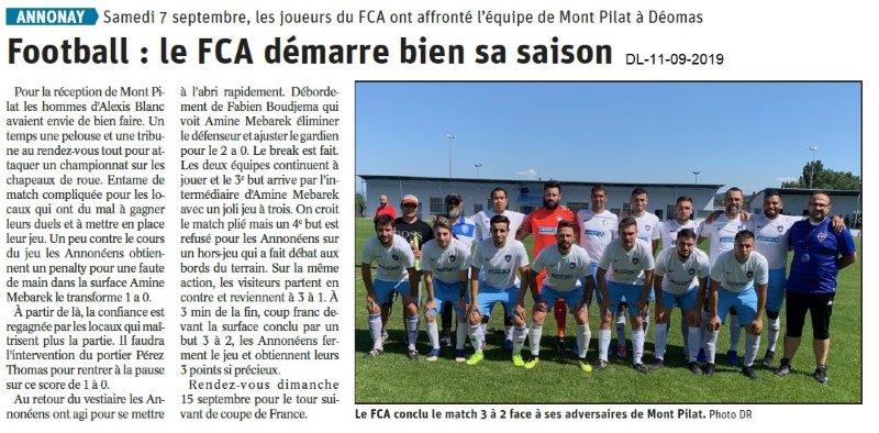 Dauphiné libéré du 11-09-2019- Football d'Annonay