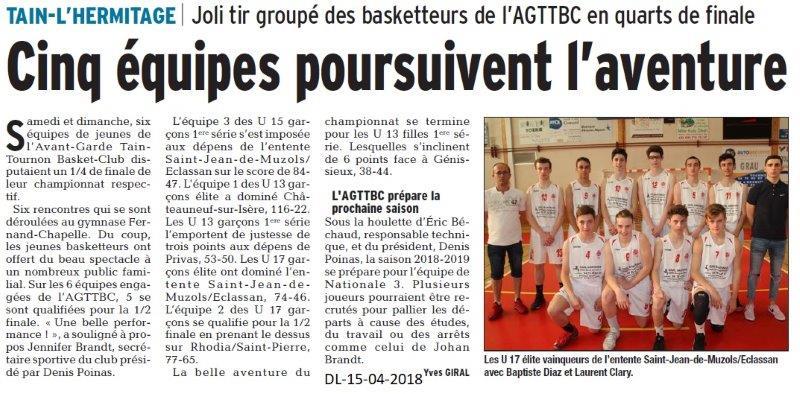 Dauphiné Libéré du 15-05-2018-Basket Tain-l'Hermitage