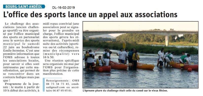 Dauphiné Libéré du 16-02-2019- OMS Bourg Saint-Andéol