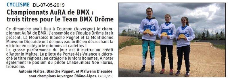 Le Dauphiné Libéré du 07-05-2019- Championnats AuRA de BMX