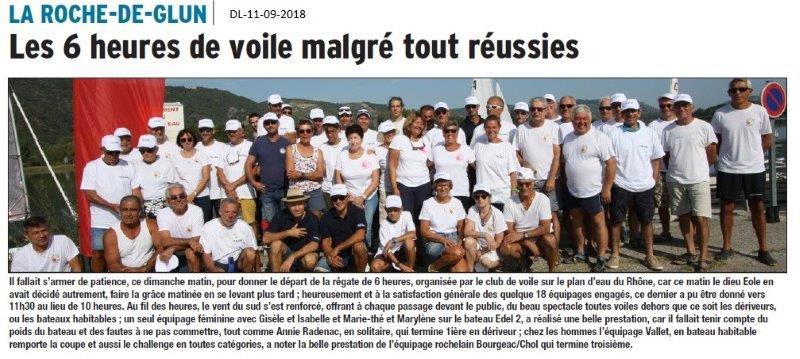 Dauphiné Libéré du 11-09-2018- Voile à La Roche de Glun