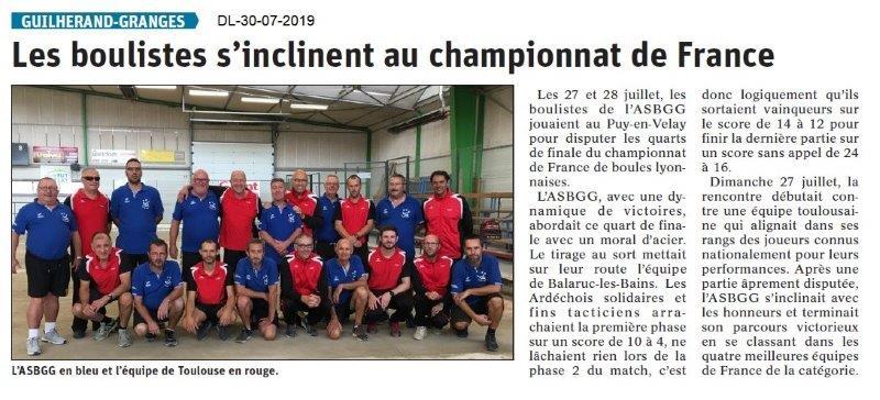 Dauphiné Libéré du 30-07-2019- Les Boulistes de Guilherand.
