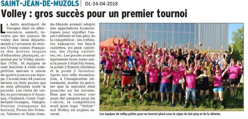 Dauphiné Libéré du 24-04-2018-Volley UFOLEP-Drôme-Ardèche