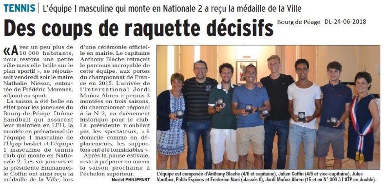 Dauphiné Libéré du 24-06-2018- L'équipe de Tennis récompensée