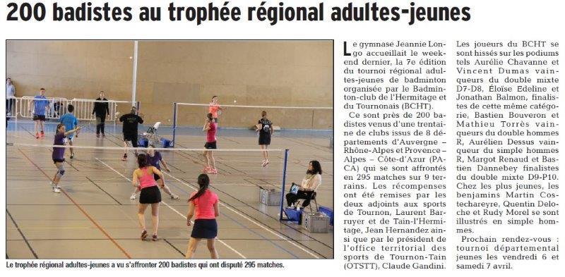 Dauphiné Libéré du 15-03-2018 Badminton- Tournon