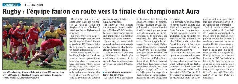 Le Dauphiné Libéré du 16-04-2019- Rugby de Chabeuil