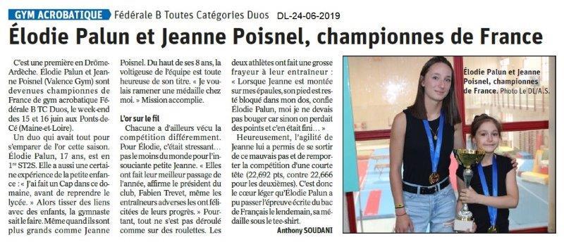 Dauphiné Libéré du 24-06-2019- Gym acrobatique de Valence