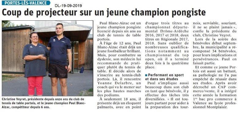 Dauphiné libéré du 19-09-2019- Tennis de table de PLV