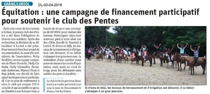 Le Dauphiné Libéré du 03-04-2019- Le Club des Pentes à Loriol