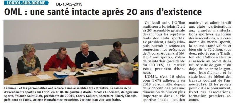 Dauphiné Libéré du 10-02-2019- AG OMLoriolais