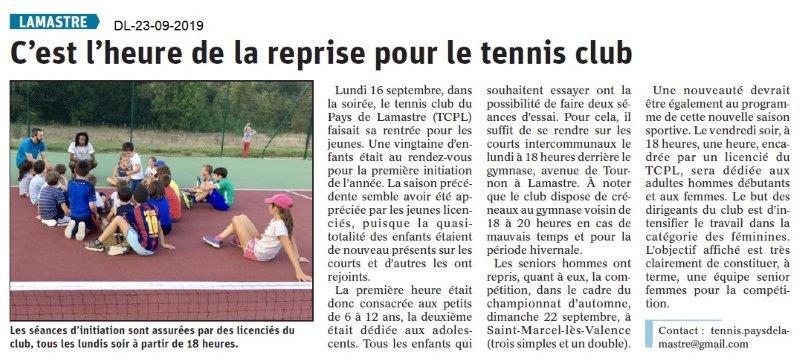 Dauphiné libéré du 23-09-2019- Reprise du Tennis à Lamastre