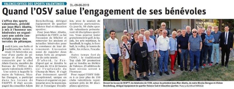 Dauphiné Libéré du 09-06-2019- Les bénévoles de l'OSV