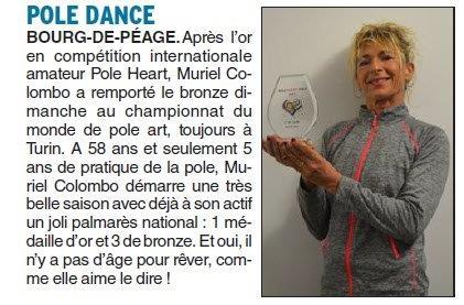 Dauphiné Libéré du 20-03-2018-Pole Dance- Bourg de Péage