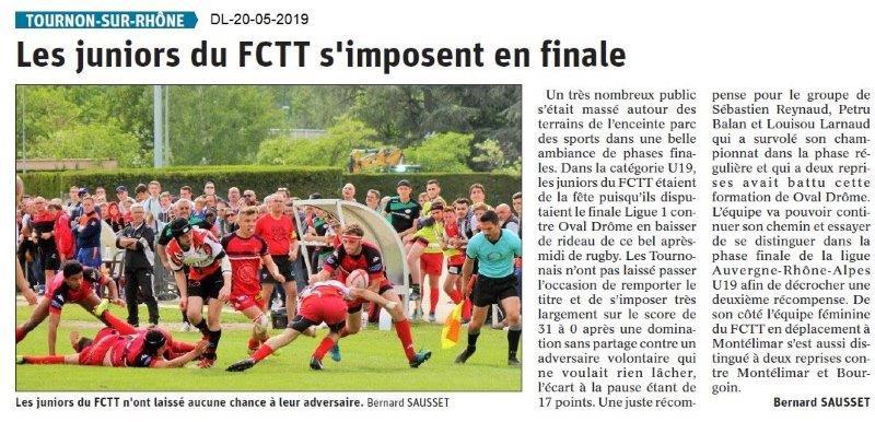 Le Dauphiné Libéré du 20-05-2019- Rugby FCTT
