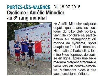 Dauphiné Libéré du 18-07-2018- Bravo Aurélie