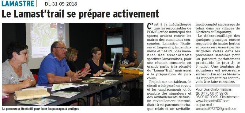 Dauphiné libéré du 31-05-2018- Le Lamast'trail se prépare