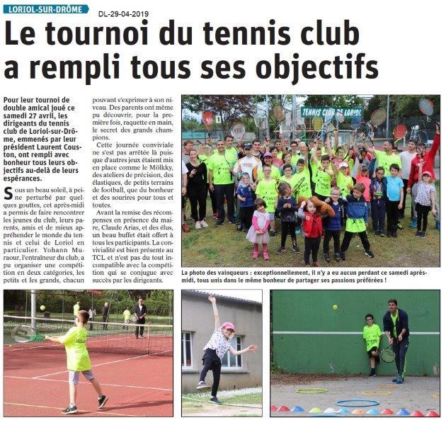 Le Dauphiné Libéré du 29-04-2019- Tennis de LORIOL