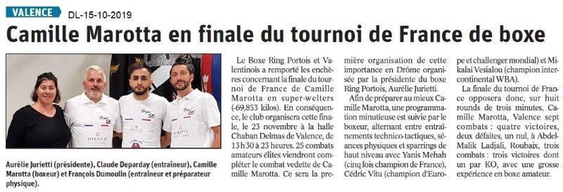 Dauphiné libéré du 15-10-2019- Boxe de PLV et Valence