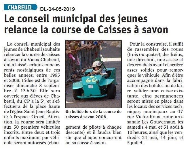 Le Dauphiné Libéré du 04-05-2019- Projet course -caisses à savon- Chabeuil