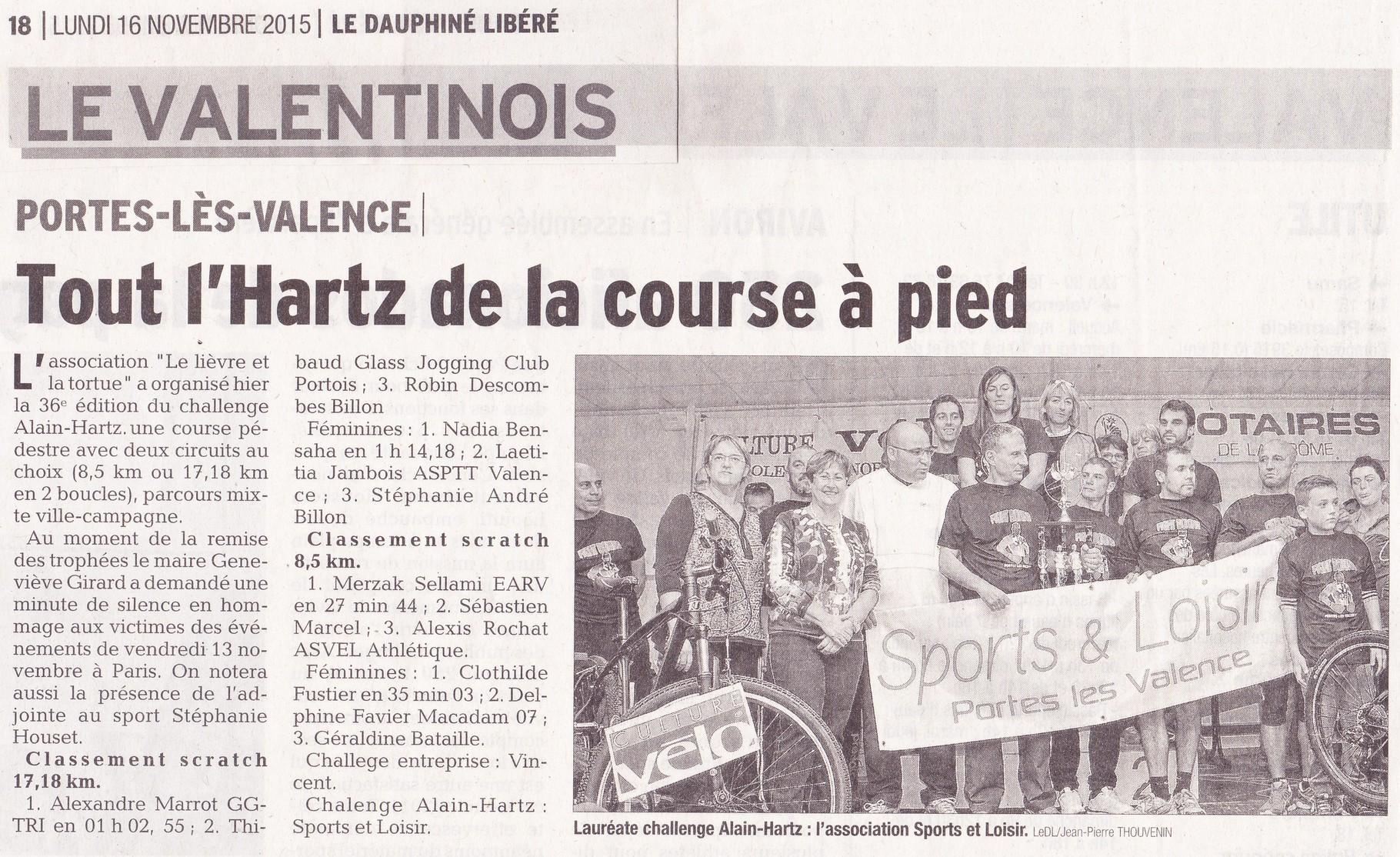 Lauréats du Challenge Alain Hartz à Portes-lèsValence