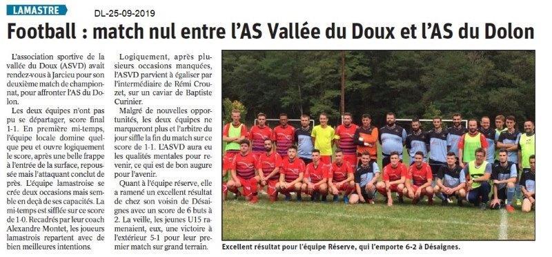 Dauphiné libéré du 25-09-2019- Foot de Lamastre