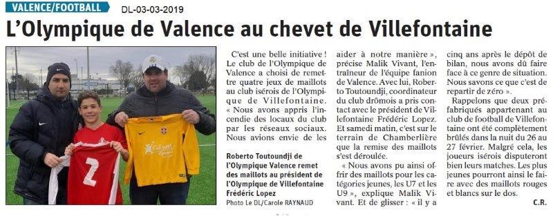 Dauphiné Libéré du 03-03-2019- Bonne action du Club de foot Olympique de Valence