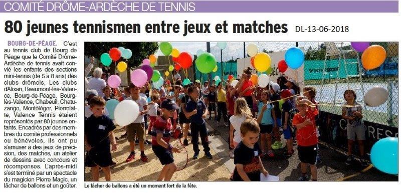 Dauphiné Libéré du 13-06-2018- Tennis à Bourg de Péage