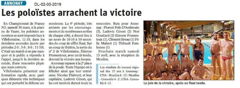 Le Dauphiné Libéré du 02-04-2019- Les poloïstes d'Annonay