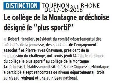 Dauphiné Libéré du 17-06-2018- Ardèche- Distinction
