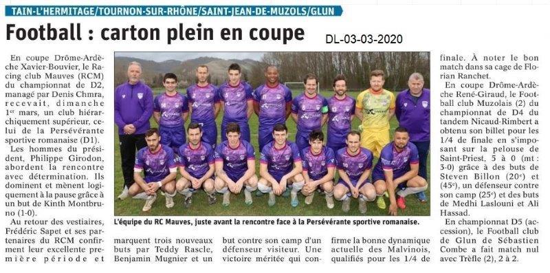 Dauphiné libéré du 03-03-2020- Foot Coupe Drôme-Ardèche