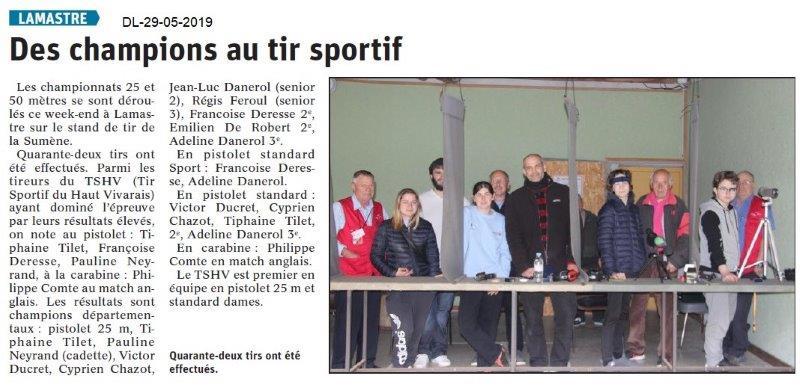 Le Dauphiné libéré du 29-05-2019- Tir sportif à Lamastre