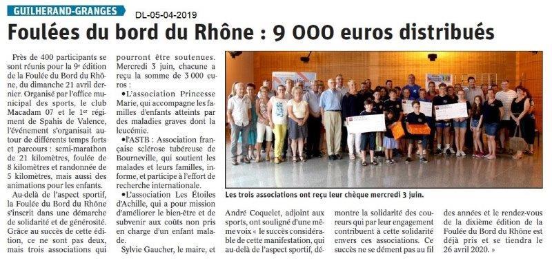Dauphiné Libéré du 05-07-2019- Les foulées du bord du Rhône