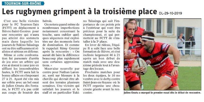le Dauphiné Libéré du 29-10-2019- Les rugbymen de Tournon