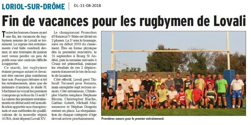 Dauphiné Libéré du 11-08-2018- Rentrée pour Lovali rugby