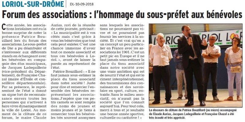 Dauphiné Libéré du 10-09-2018- Forum Loriol