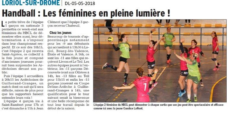 Dauphiné Libéré du 05-05-2018-Handball-  Loriol