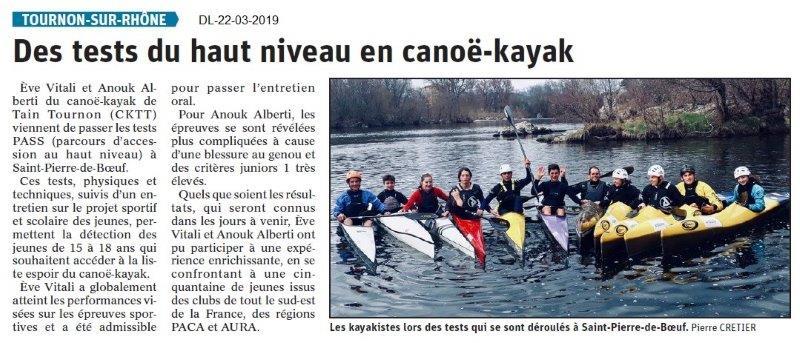 Dauphiné Libéré du 22-03-2019- Test canoë-kayak Tournon