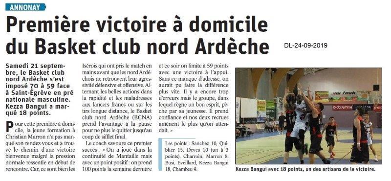 Dauphiné libéré du 24-09-2019- Basket d'Annonay
